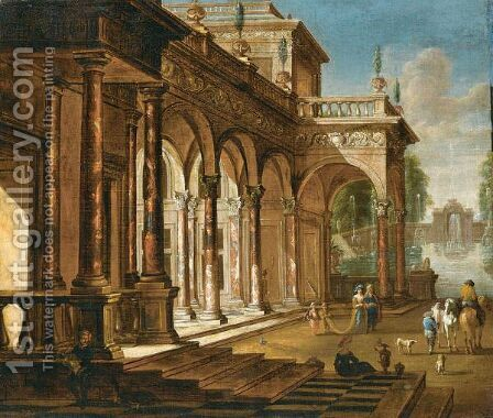 Elegant Figures Before A Palace With A Fountain Beyond by (after) Jacob Balthasar Peeters - Reproduction Oil Painting