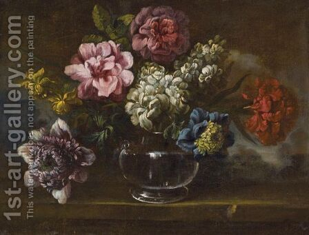 Still Life With Various Flowers In A Glass Vase On A Stone Ledge by Italian School - Reproduction Oil Painting