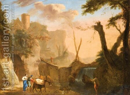 Italianate Landscape With Figures Cattle And Sheep Crossing A Dam by (after) Herman Van Swanevelt - Reproduction Oil Painting