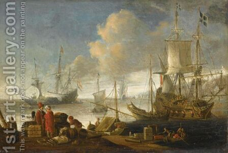 A Mediterranean Harbour Scene, With Merchants Trading On The Quay, And Ships Beyond by (after) Lorenzo A. Castro - Reproduction Oil Painting