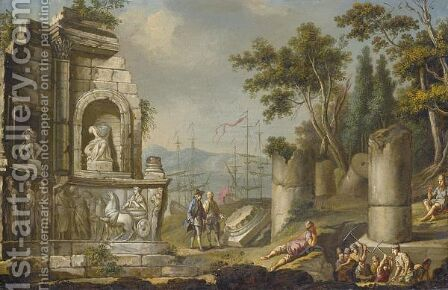 A Coastal Landscape With Figures Excavating Classical Ruins by (after) Pietro Fabris - Reproduction Oil Painting