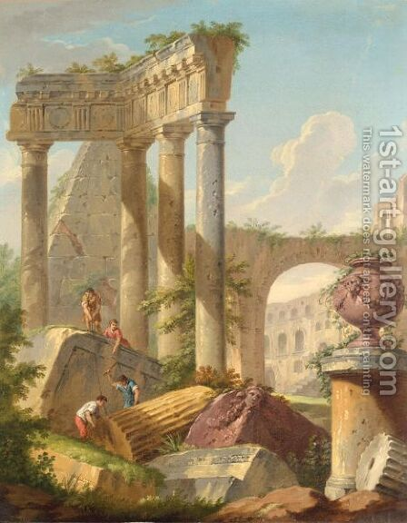 An Architectural Capriccio With Stonemasons On Classical Ruins by (after) Giovanni Paolo Panini - Reproduction Oil Painting
