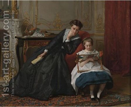 An Embroidery Lesson by Gustave Leonhard de Jonghe - Reproduction Oil Painting