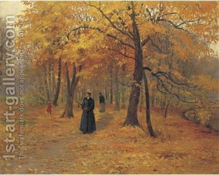 A Forest Walk In Autumn by Carl Christian Carlsen - Reproduction Oil Painting