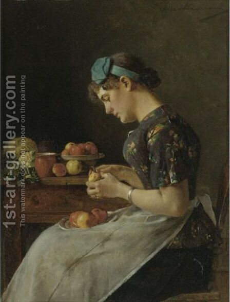 Young Woman Peeling Apples by Isidor Kaufmann - Reproduction Oil Painting