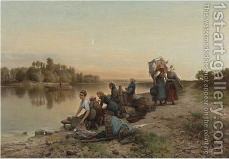 Les Laveuses by Daniel Ridgway Knight - Reproduction Oil Painting