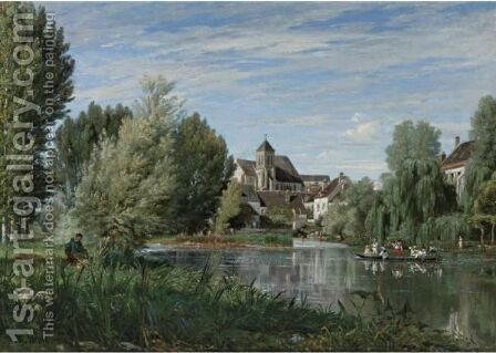 A Sunday Afternoon On The River by Alexandre Rene Veron - Reproduction Oil Painting