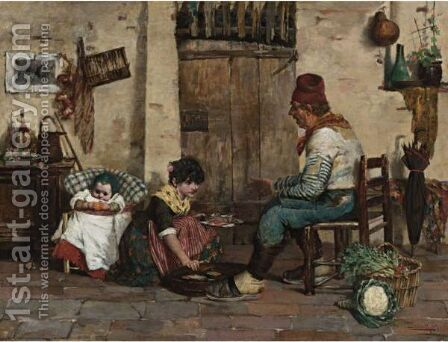Serving Lunch by Cesare Laurenti - Reproduction Oil Painting