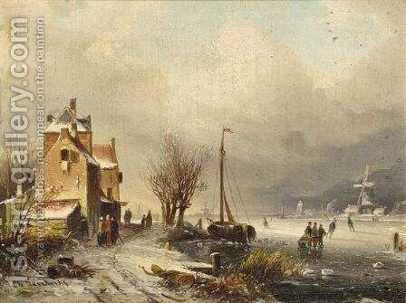 Figures On A Frozen Waterway, A Windmill In The Distance by Charles Henri Leickert - Reproduction Oil Painting