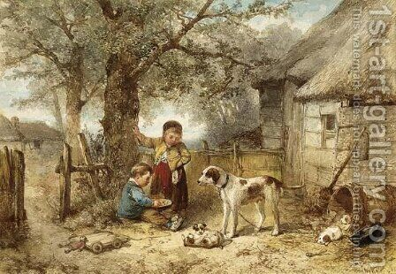 Feeding The Dogs by Jan Mari Henri Ten Kate - Reproduction Oil Painting