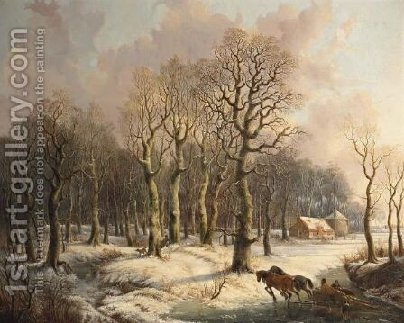 Wood Gatherers With A Horse Drawn Sleigh And A Hunter In A Wintry Forest by (after) Gerrit Hendrik Gobell - Reproduction Oil Painting