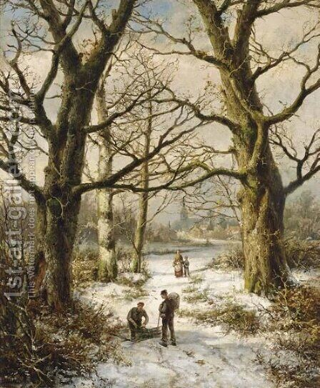 Figures On A Wintry Country Lane, A Village In The Distance by Hendrik Barend Koekkoek - Reproduction Oil Painting