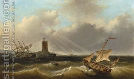 Shipping In A Rough by Christiaan Lodewijk Willem Dreibholtz - Reproduction Oil Painting