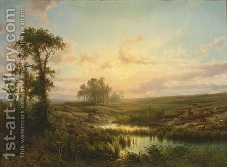 A Summer Landscape At Sunset by Cornelis Lieste - Reproduction Oil Painting