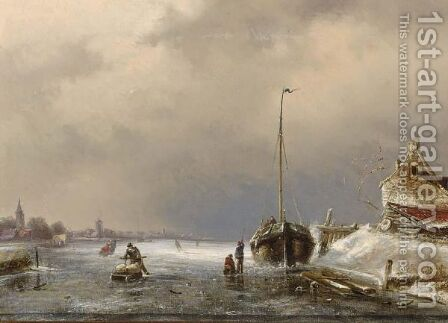 A Winter Landscape With Figures On The Ice 4 by Charles Henri Leickert - Reproduction Oil Painting