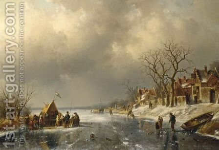 Skaters On A Frozen River With Figures by Charles Henri Leickert - Reproduction Oil Painting