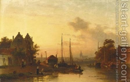 Washer Women Near A River, A Town Beyond by Charles Henri Leickert - Reproduction Oil Painting