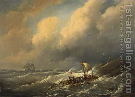 Figures On A Raft In Rough Seas by Christiaan Cornelis Kannemans - Reproduction Oil Painting