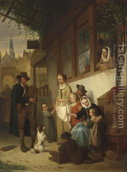 A Street-Musician In Antwerp by Adrien Ferdinand de Braekeleer - Reproduction Oil Painting