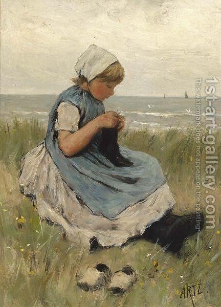 A Girl Knitting In The Dunes by David Adolf Constant Artz - Reproduction Oil Painting