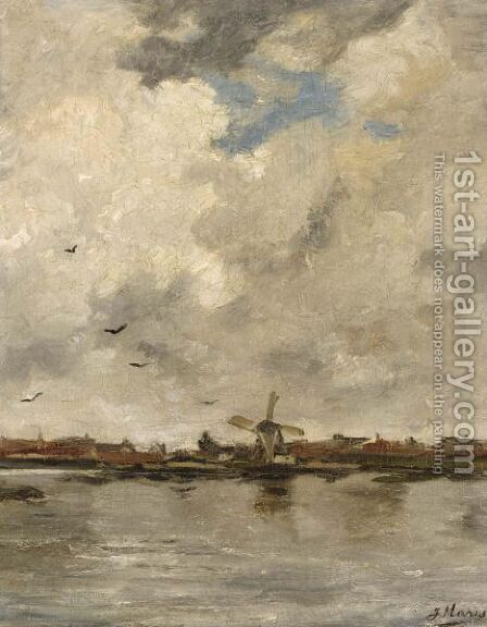A Windmill In A Polder Landscape by Jacob Henricus Maris - Reproduction Oil Painting