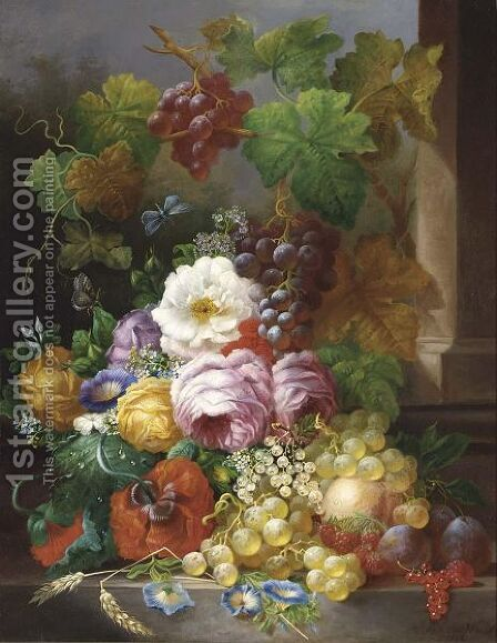 A Still Life With Fruit And Flowers by Jan Van Der Waarden - Reproduction Oil Painting