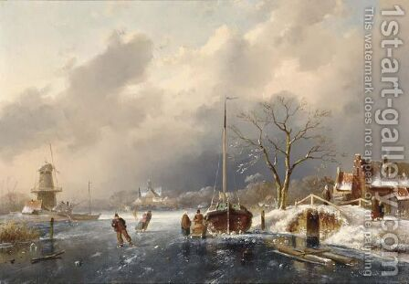 Skaters On A Frozen River 2 by Charles Henri Leickert - Reproduction Oil Painting