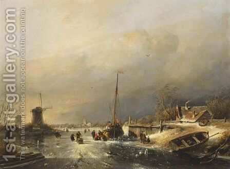 A Winter Landscape With Figures On The Ice Near A Barge, A Town Beyond by Charles Henri Leickert - Reproduction Oil Painting