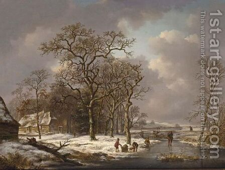 A Winter Landscape With Figures On A Frozen Waterway 2 by Andreas Schelfhout - Reproduction Oil Painting