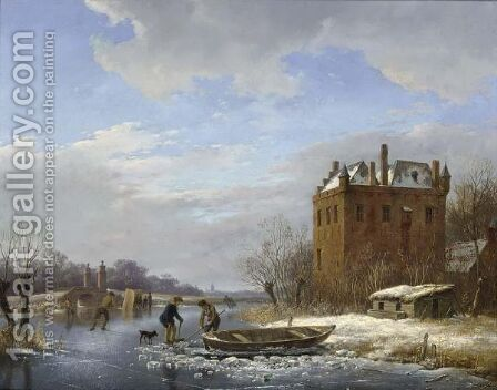 A Winter Landscape With Figures On The Ice by Andreas Schelfhout - Reproduction Oil Painting