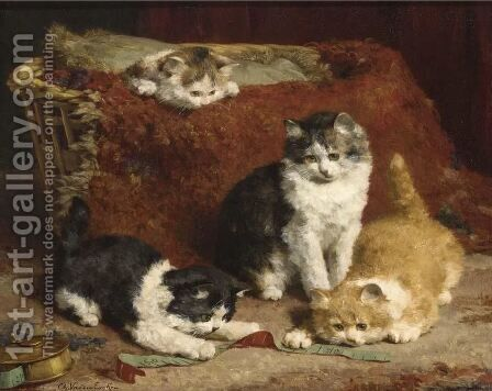 Kittens At Play 3 by Charles van den Eycken - Reproduction Oil Painting