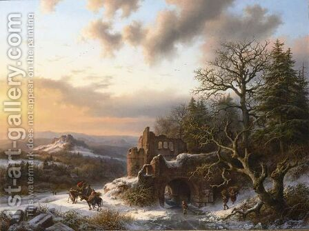 Wood-Gatherers In A Winter Landscape by Barend Cornelis Koekkoek - Reproduction Oil Painting