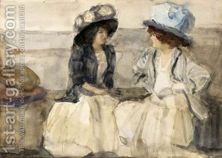 Elegant Ladies Conversing by Isaac Israels - Reproduction Oil Painting