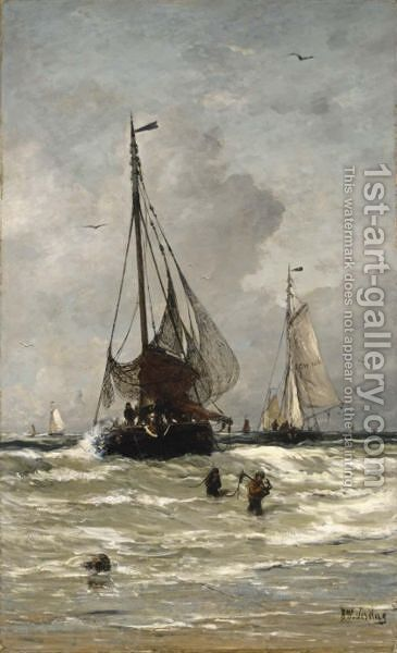 The Return Of The Fishing Boats by Hendrik Willem Mesdag - Reproduction Oil Painting