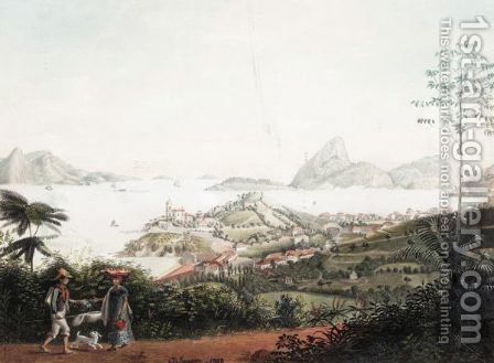 View Of The Entrance Of The Harbour Of Rio Di Janiero Up From The Hill Of Ste Theresa Above The City by Jacob Janssen - Reproduction Oil Painting