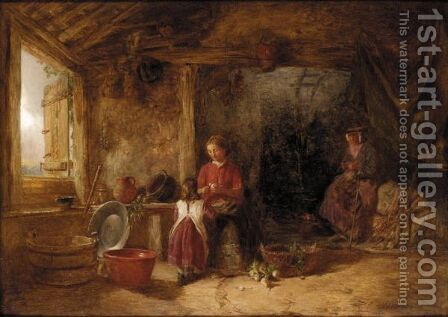 Interior Of A Welsh Farmhouse by Alfred Provis - Reproduction Oil Painting