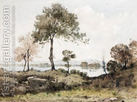 Edge Of The Lake by Henri-Joseph Harpignies - Reproduction Oil Painting