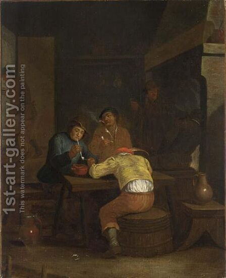 A Tavern Interior With Peasants Smoking And Drinking by (after) Egbert Van, The Younger Heemskerck - Reproduction Oil Painting