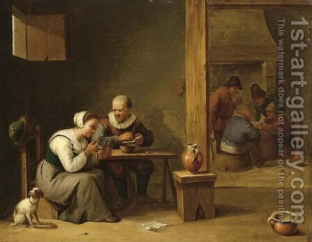 A Couple Smoking In An Inn, Other Peasants Playing Cards In The Background Near A Fireplace by (after)  David The Younger Teniers - Reproduction Oil Painting