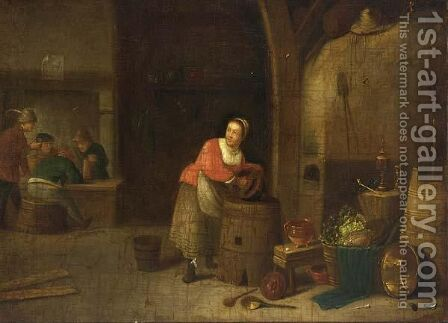 An Interior Of An Inn With A Maid Cleaning Pots by (after)  David The Younger Teniers - Reproduction Oil Painting