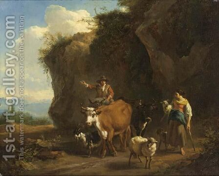 Shepherds With Their Flock In An Italianate Rocky Landscape by (after) Nicolaes Berchem - Reproduction Oil Painting