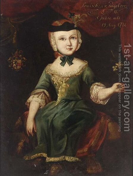 A Portrait Of Louischen Von Pagelon, Aged 5 by Christina Dorothea Turpin - Reproduction Oil Painting