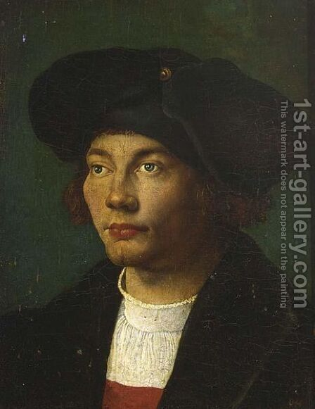 A Portrait Of A Gentleman, Head And Shoulders, Wearing A Black Coat And Hat by (after) Durer or Duerer, Albrecht - Reproduction Oil Painting
