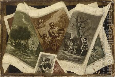 Still Life Of Various Prints by Dutch School - Reproduction Oil Painting