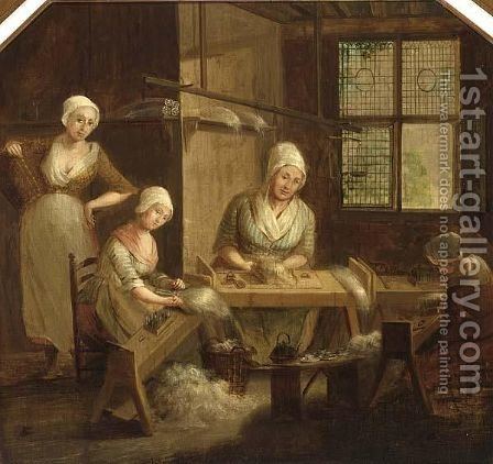 An Interior With Girls Spinning Flax, Nuenen by Dutch School - Reproduction Oil Painting