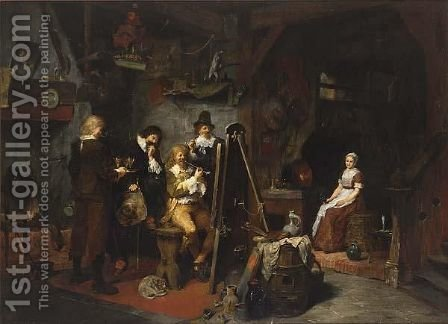 David Teniers In Seinem Atelier by Heinrich Schlitt - Reproduction Oil Painting