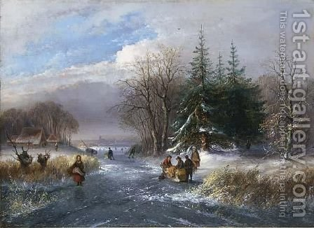 Winter Landscape With Skaters On The Ice, A Town In The Background by Dutch School - Reproduction Oil Painting
