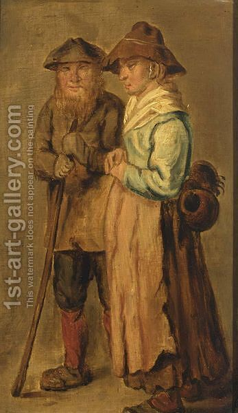Two Peasants by (after) Adriaen Pietersz. Van De Venne - Reproduction Oil Painting