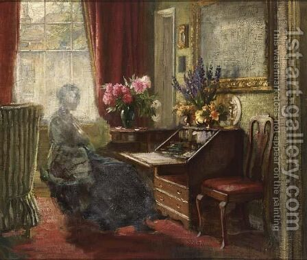 An Interior With A Woman Behind A Writing Table by (after) Carl Vilhelm Holsoe - Reproduction Oil Painting