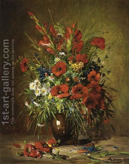 Poppies In A Stone Jar by American School - Reproduction Oil Painting